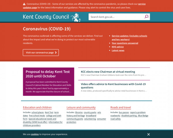 Desktop screenshot of Kent County Council website