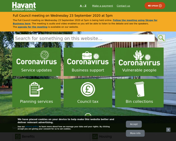 Desktop screenshot of Havant District Council website