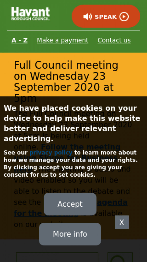 Mobile screenshot of Havant District Council website