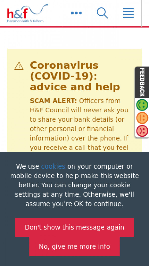 Mobile screenshot of London Borough of Hammersmith & Fulham Council website