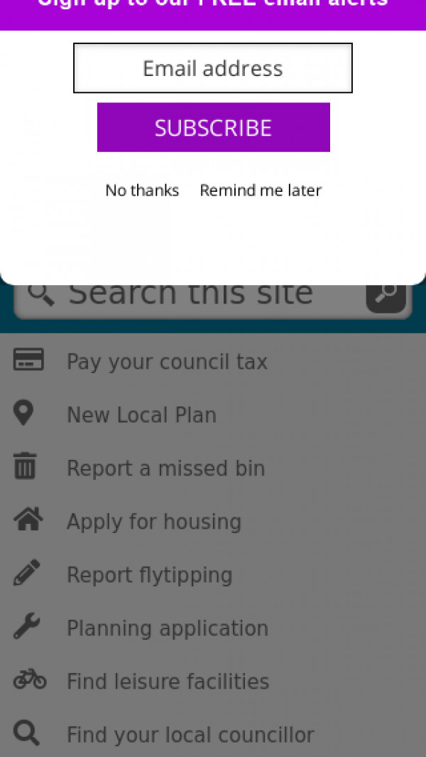 Mobile screenshot of Hertsmere Borough Council website