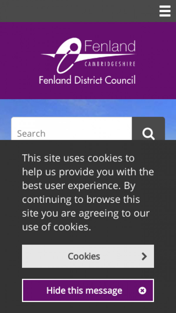 Mobile screenshot of Fenland District Council website