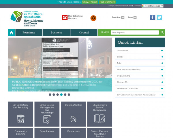 Desktop screenshot of Newry, Mourne, and Down District Council website