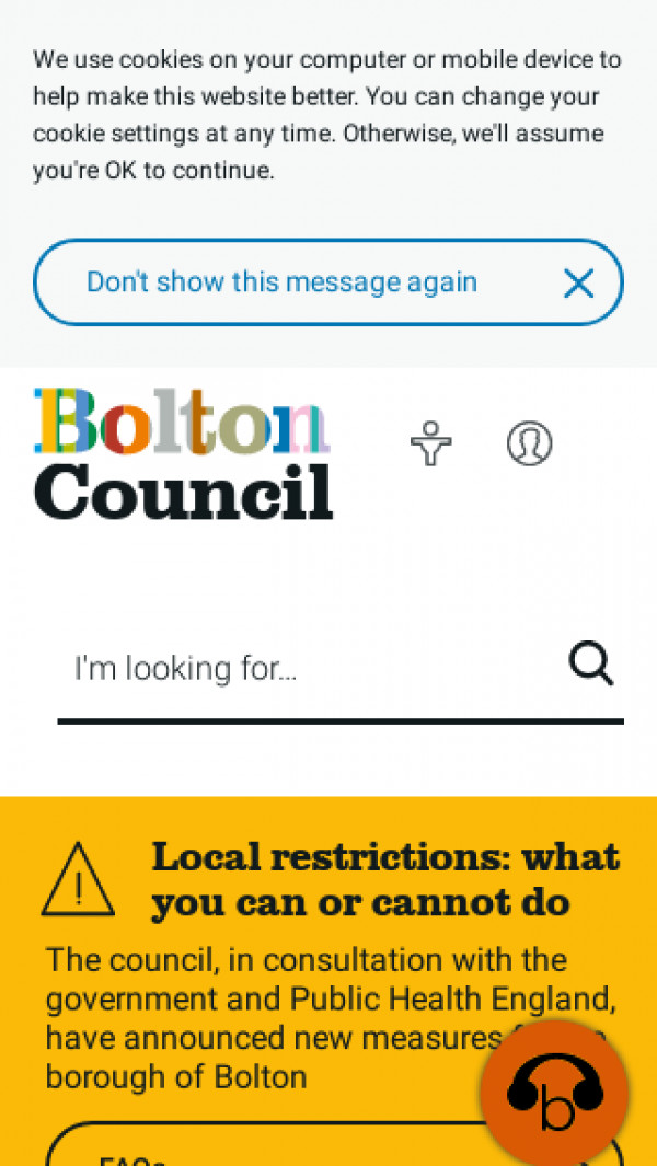 Mobile screenshot of Bolton Metropolitan Borough Council website