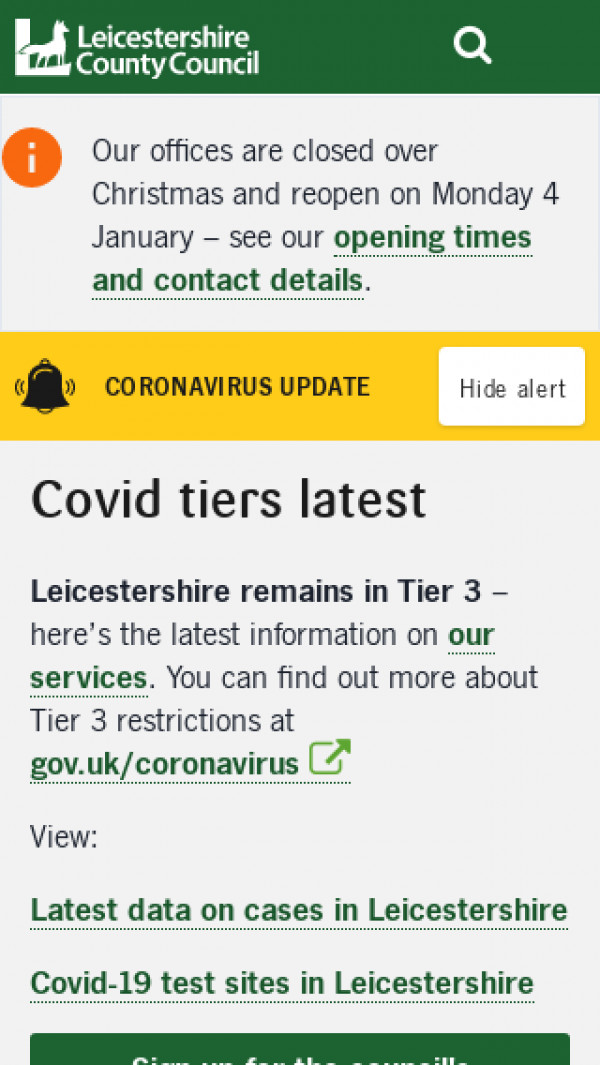 Mobile screenshot of Leicestershire County Council website