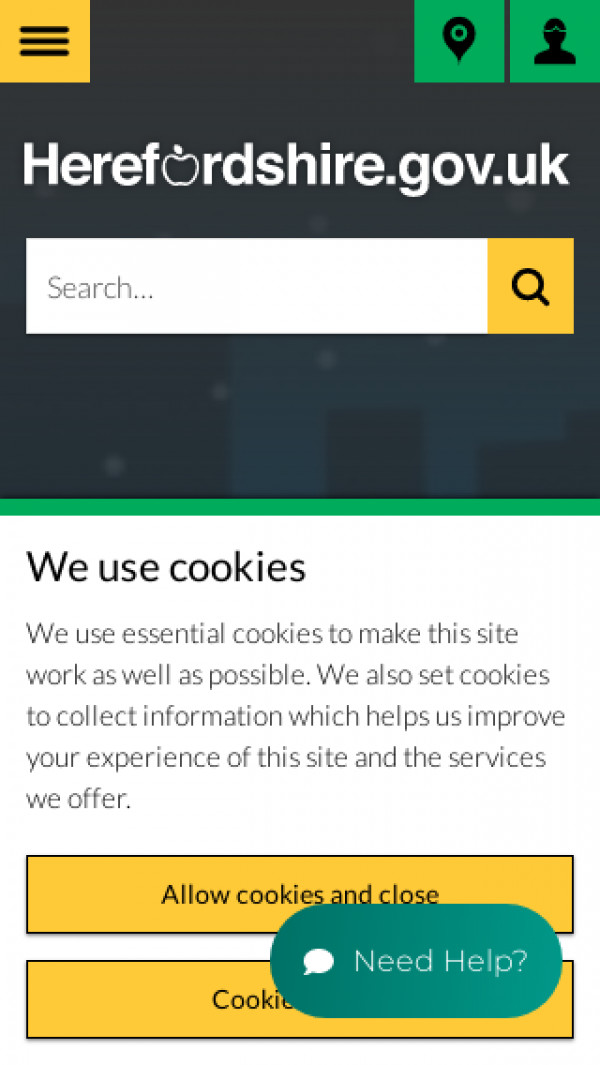 Mobile screenshot of Herefordshire Council website
