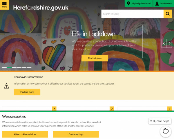 Desktop screenshot of Herefordshire Council website