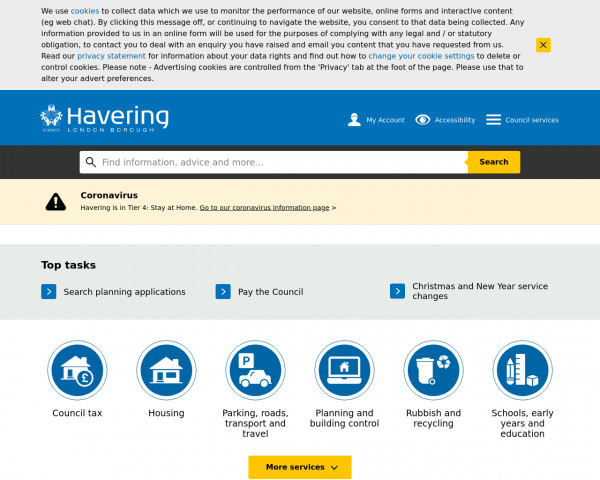 Desktop screenshot of London Borough of Havering Council website