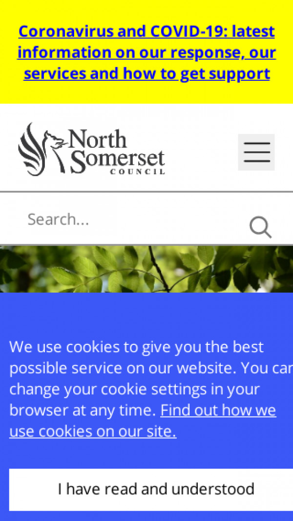 Mobile screenshot of North Somerset Council website