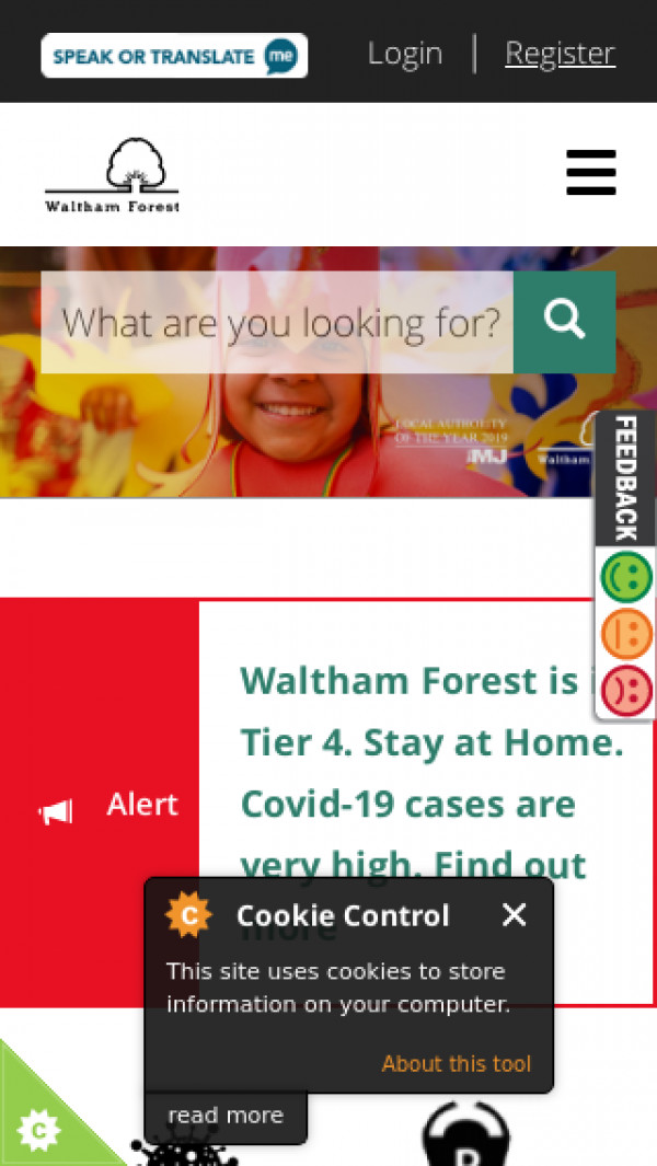 Mobile screenshot of London Borough of Waltham Forest Council website