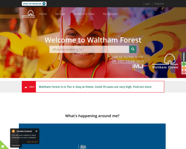 Desktop screenshot of London Borough of Waltham Forest Council website