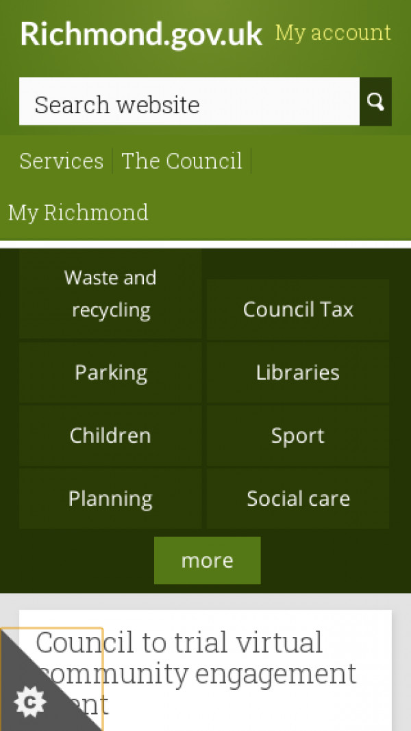 Mobile screenshot of London Borough of Richmond upon Thames Council website