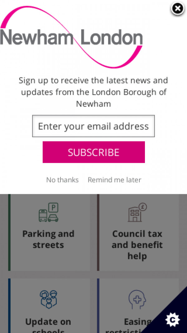 Mobile screenshot of London Borough of Newham Council website