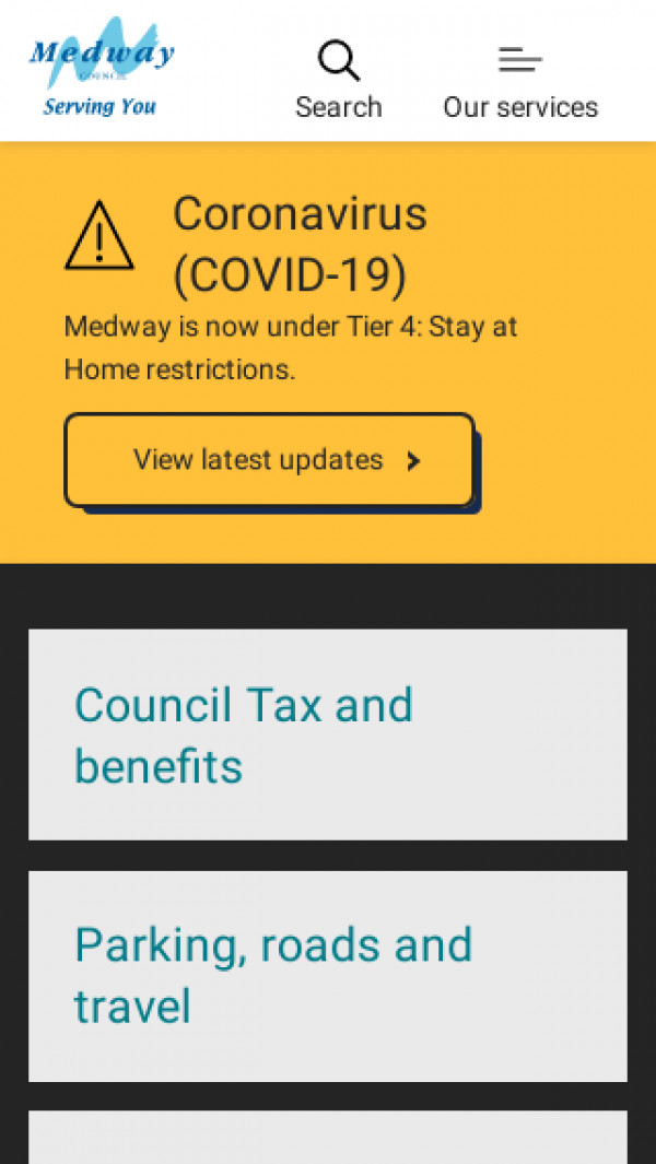 Mobile screenshot of Medway Council website