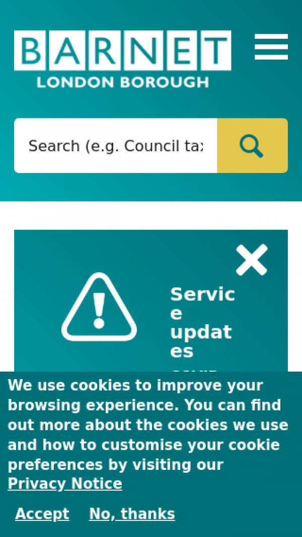 Mobile screenshot of London Borough of Barnet Council website