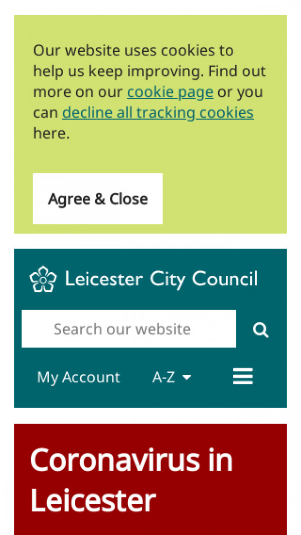 Mobile screenshot of Leicester City Council website