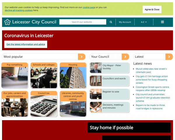 Desktop screenshot of Leicester City Council website