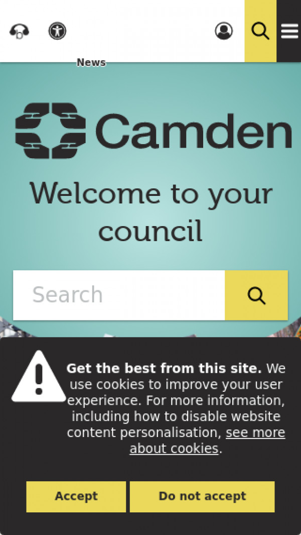 Mobile screenshot of London Borough of Camden Council website