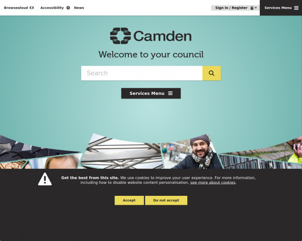 Desktop screenshot of London Borough of Camden Council website