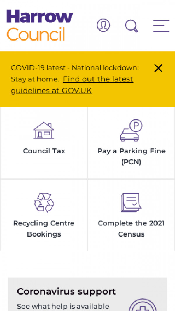Mobile screenshot of London Borough of Harrow Council website