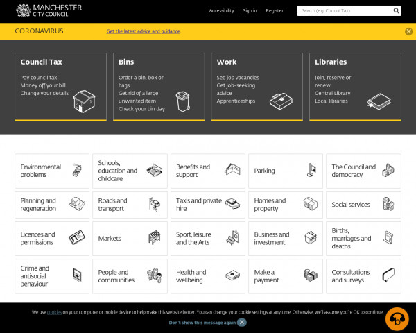 Desktop screenshot of Manchester City Council website