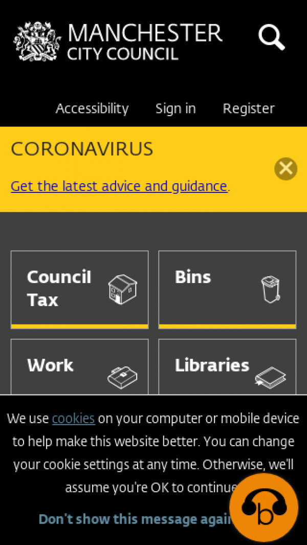 Mobile screenshot of Manchester City Council website