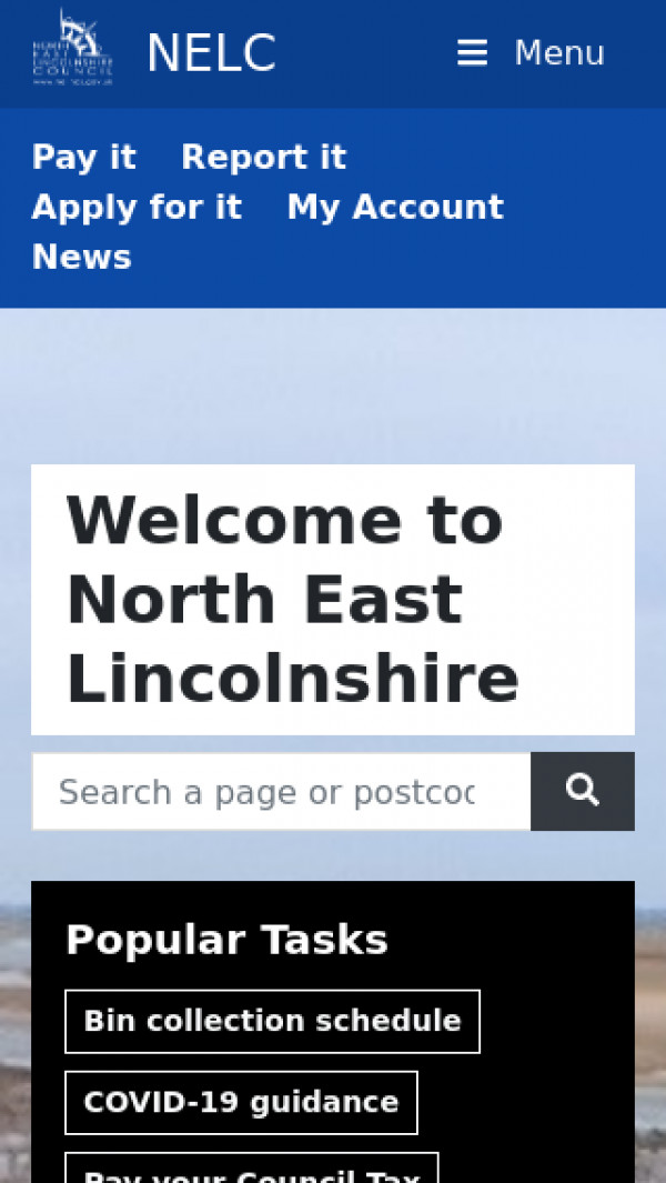 Mobile screenshot of North East Lincolnshire Council website