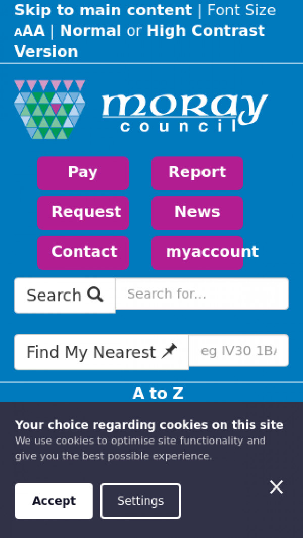 Mobile screenshot of Moray Council website