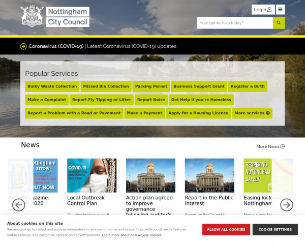 Desktop screenshot of Nottingham City Council website