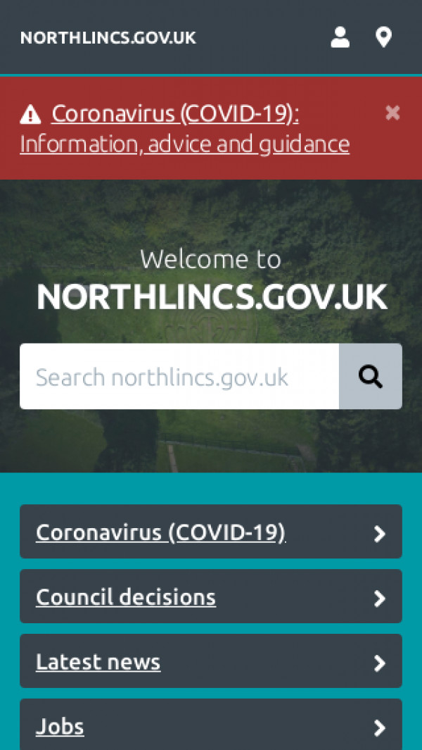 Mobile screenshot of North Lincolnshire Council website