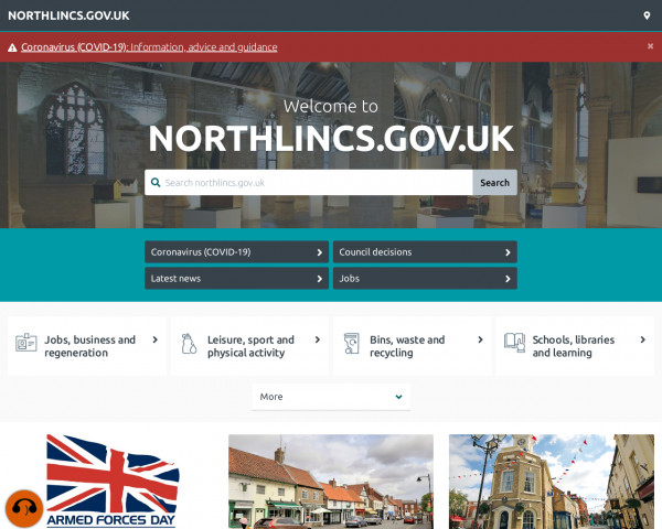 Desktop screenshot of North Lincolnshire Council website