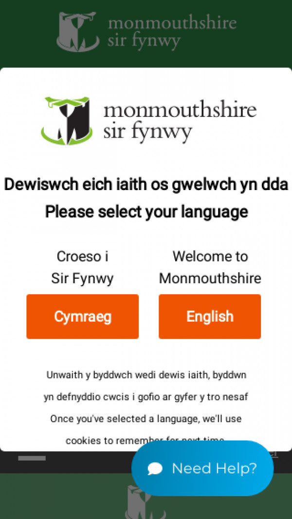 Mobile screenshot of Monmouthshire Council website