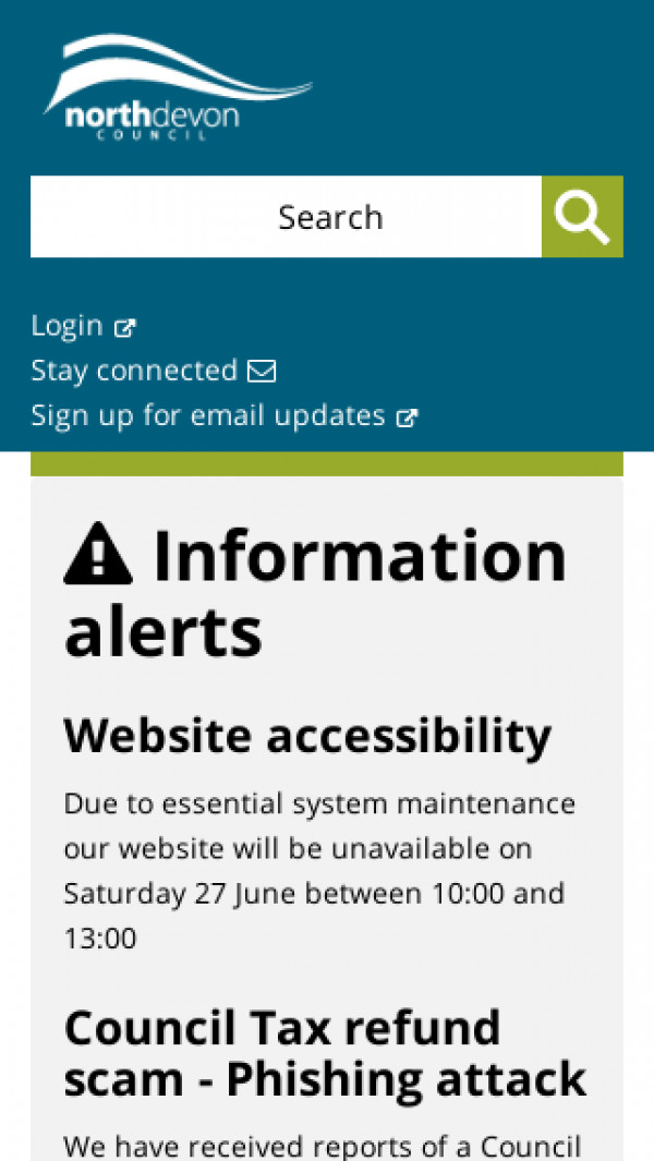 Mobile screenshot of North Devon District Council website