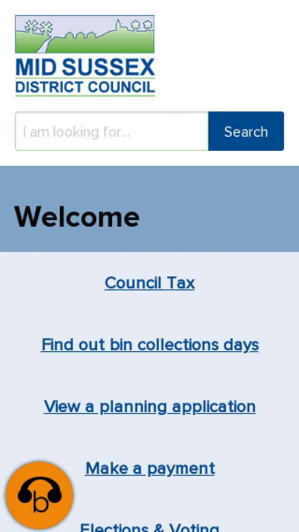 Mobile screenshot of Mid Sussex District Council website