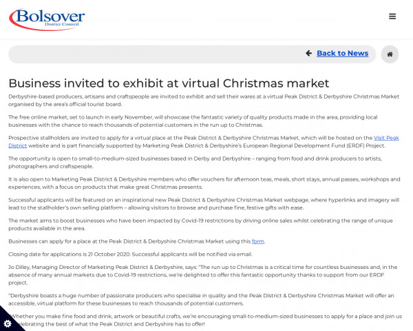 Screenshot of Business invited to exhibit at virtual Christmas market