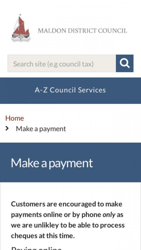 Mobile screenshot of Maldon District Council website