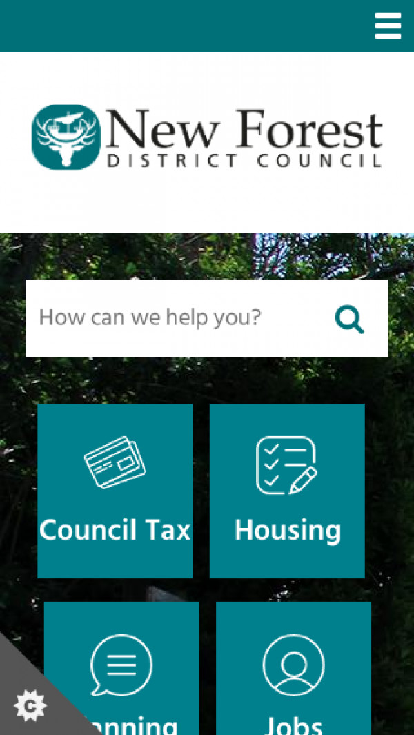 Mobile screenshot of New Forest District Council website