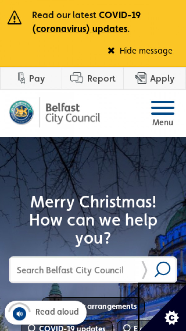 Mobile screenshot of Belfast City Council website