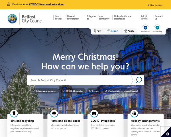 Desktop screenshot of Belfast City Council website
