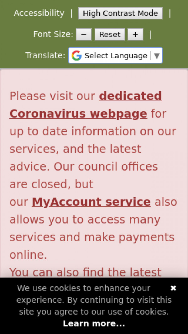 Mobile screenshot of North West Leicestershire District Council website