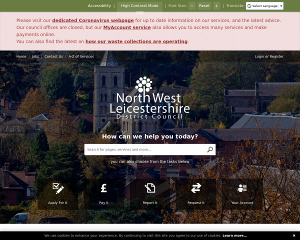 Desktop screenshot of North West Leicestershire District Council website