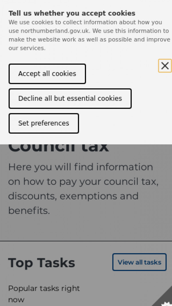 Mobile screenshot of Northumberland County Council website