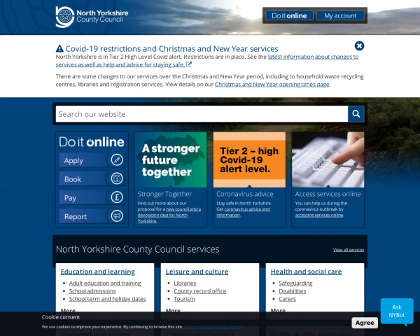 Desktop screenshot of North Yorkshire County Council website