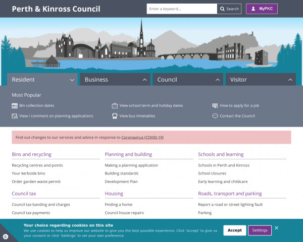 Desktop screenshot of Perth & Kinross Council website