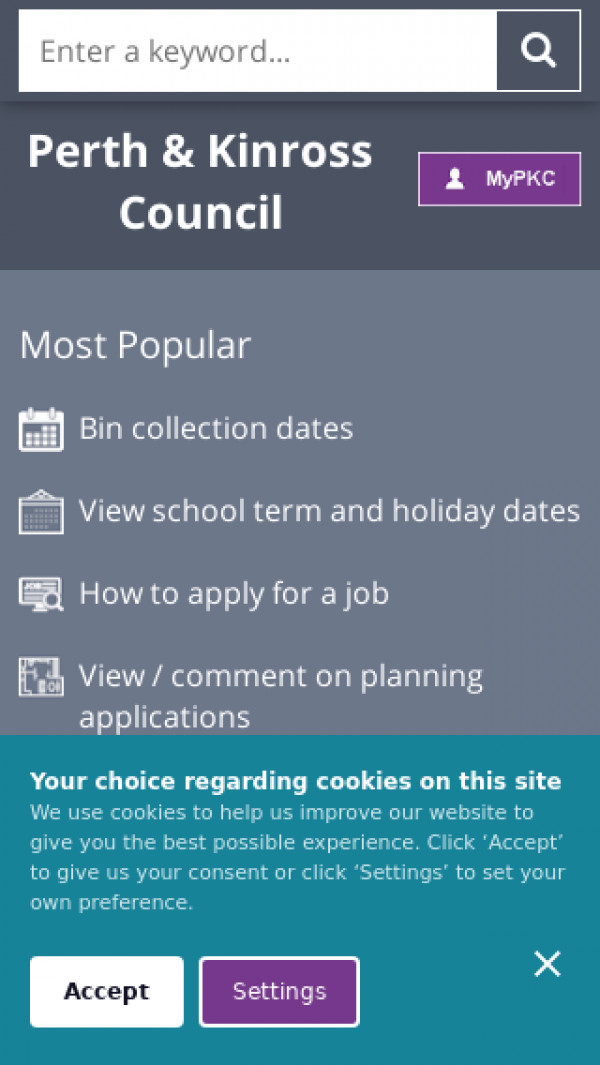 Mobile screenshot of Perth & Kinross Council website