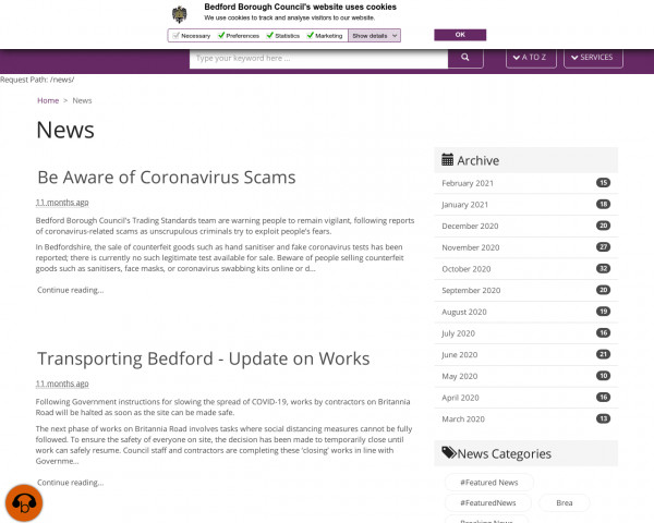 Screenshot of News · Bedford Borough Council