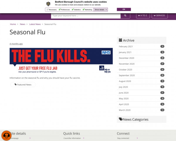 Screenshot of Seasonal Flu · Bedford Borough Council