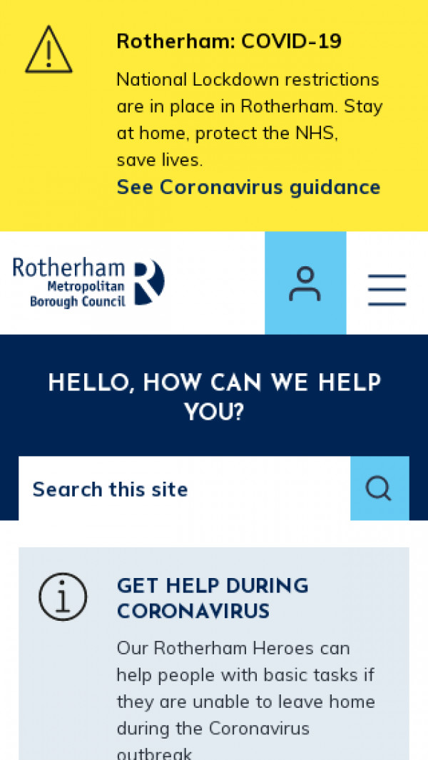 Mobile screenshot of Rotherham Metropolitan Borough Council website