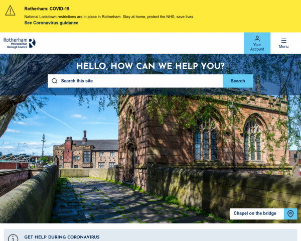 Desktop screenshot of Rotherham Metropolitan Borough Council website