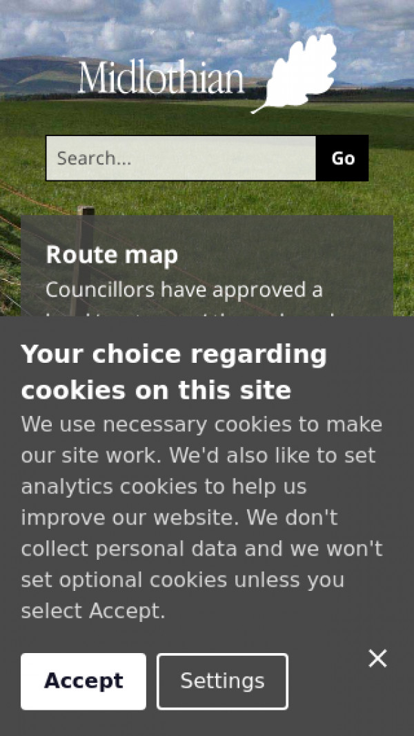 Mobile screenshot of Midlothian Council website